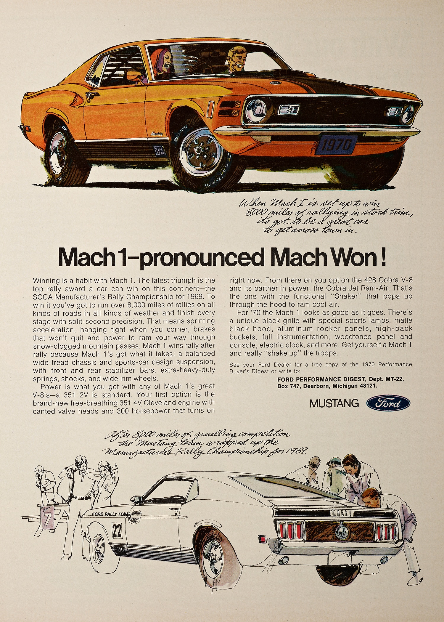 1 1970 Ford Mustang Mach 1 Advertisement