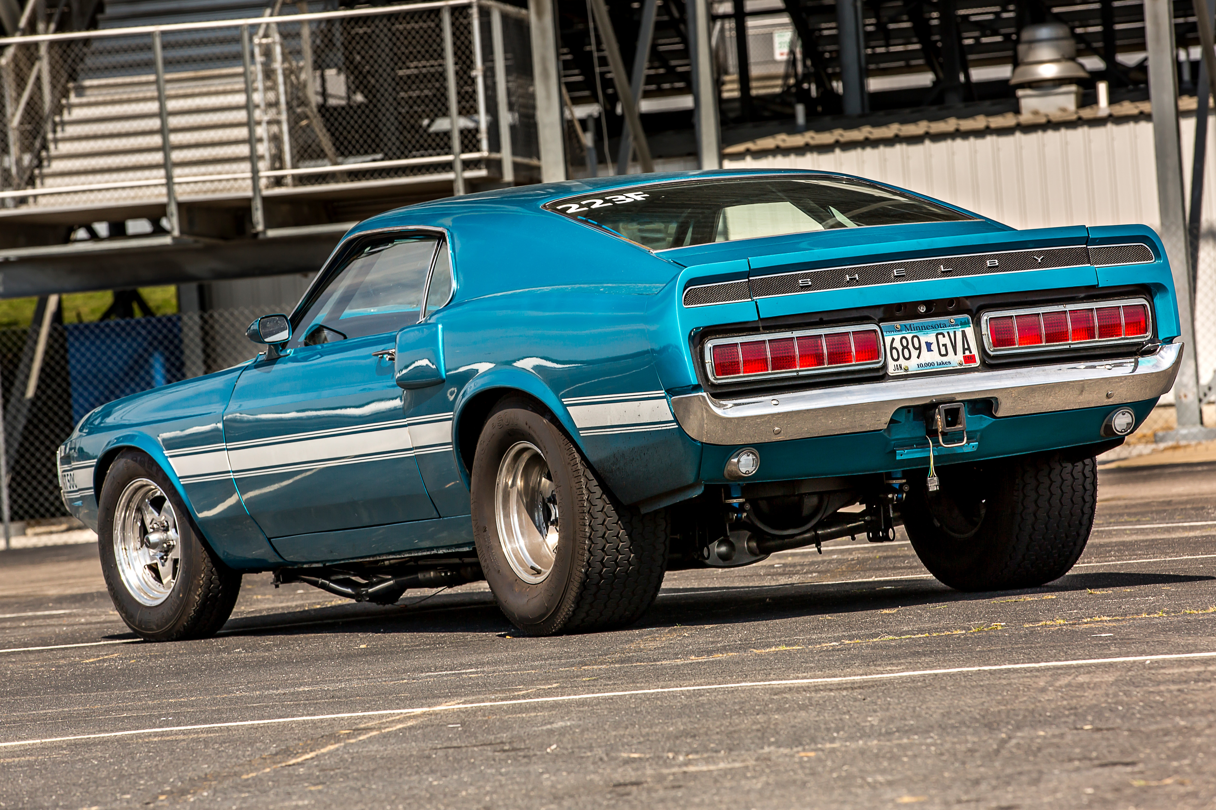 16 1969 Ford Mustang Rear View