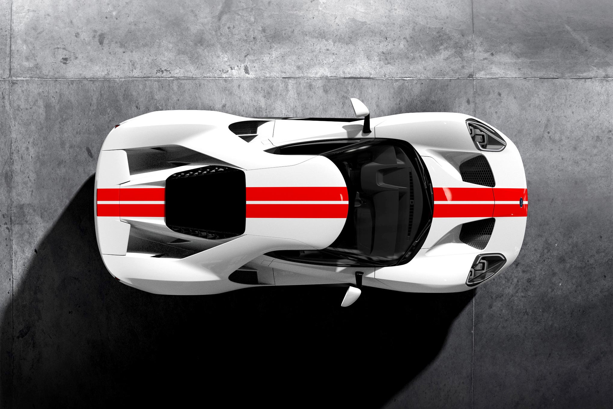 008 Frozen White Ford GT   Race Red Stripe Overhead