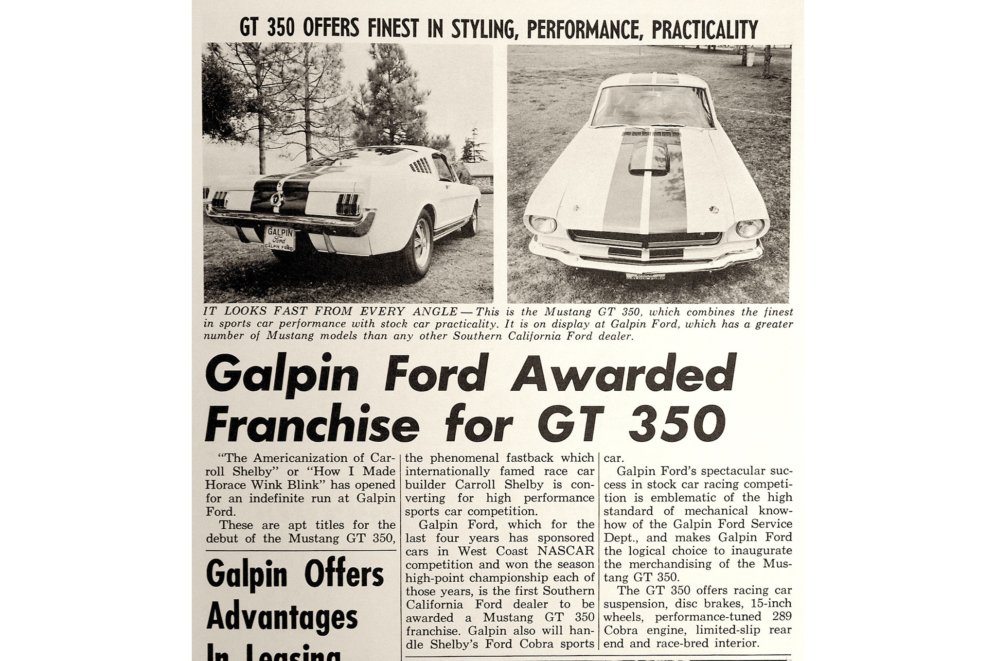 18 1965 Ford Mustang Shelby Gt350 Newspaper