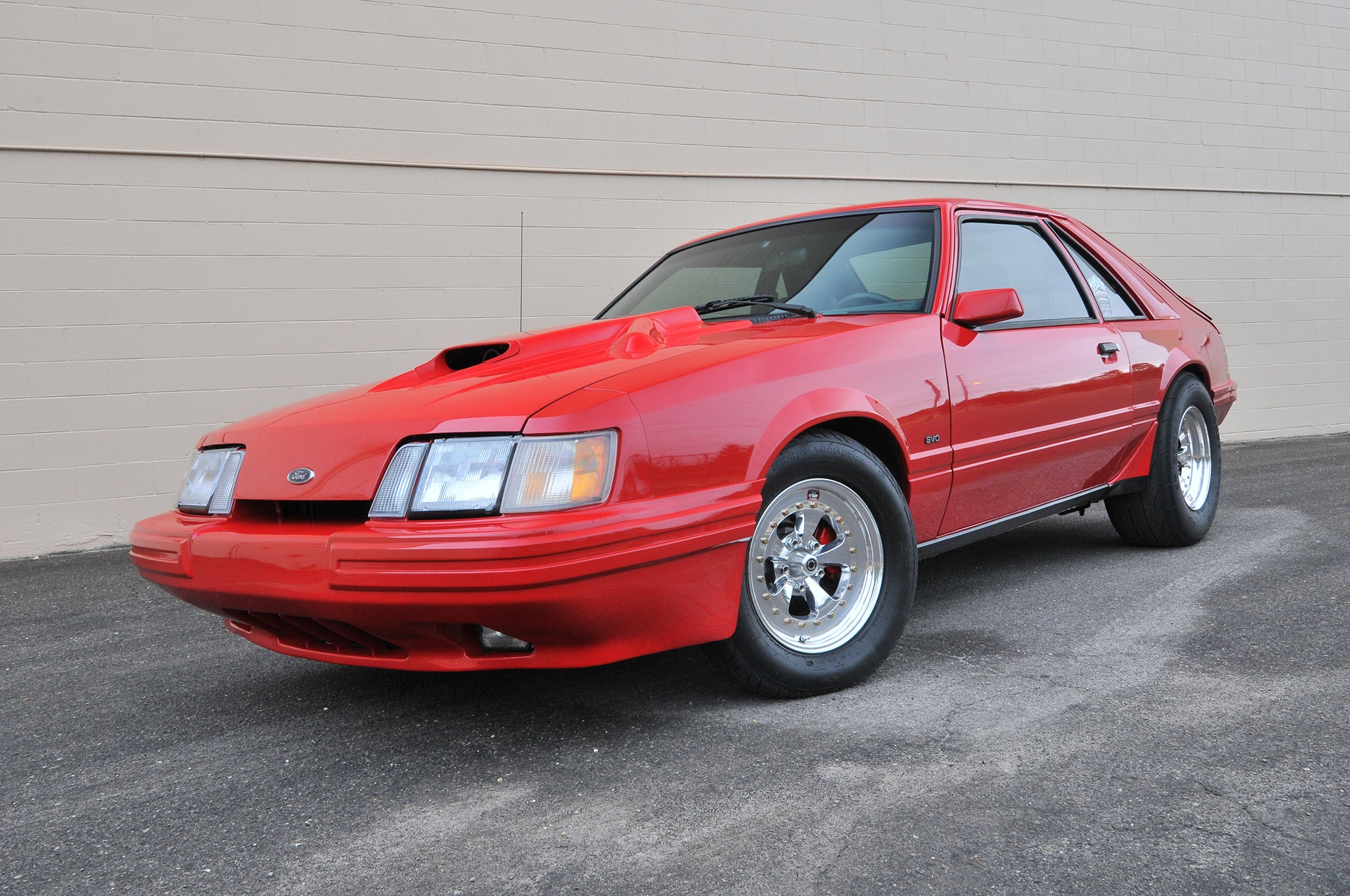 1986 Ford Mustang Svo Coyote Vermillion Red Front Quarter