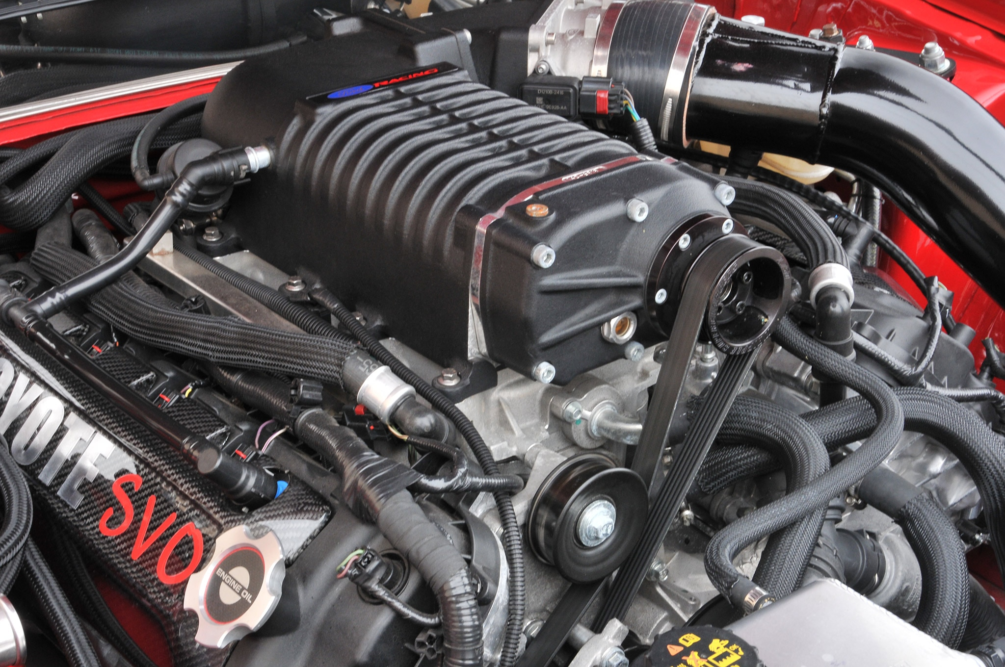 1986 Ford Mustang Svo Coyote Vermillion Red Engine Side View