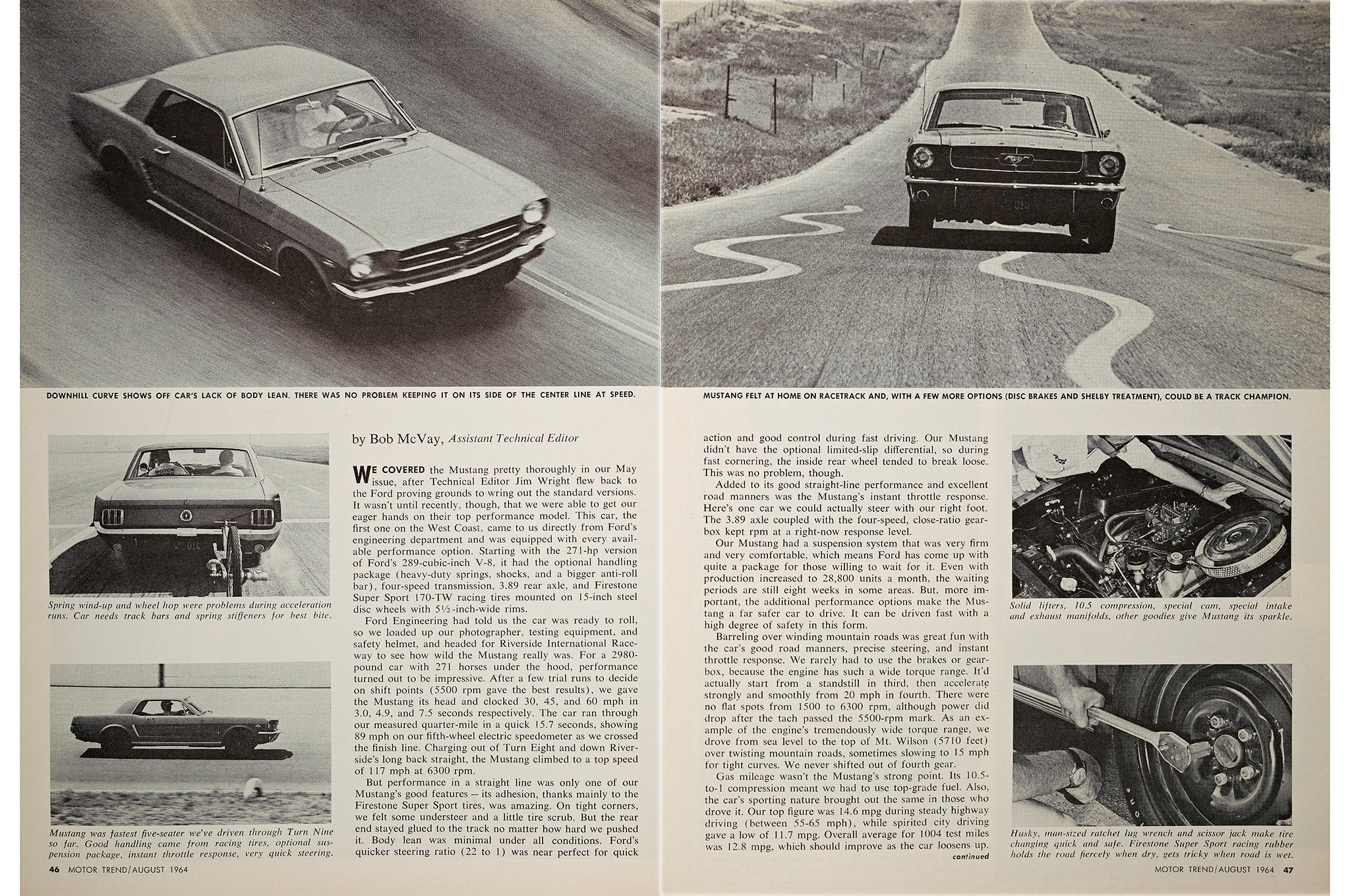 August 1964 Motor Trend Mustang Road Test Bob Mcvay Review