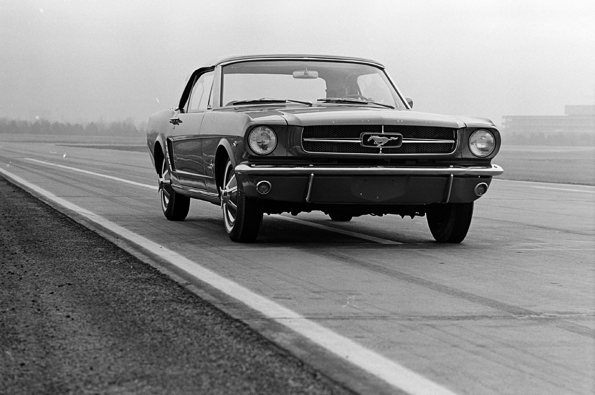 August 1964 Motor Trend Mustang Road Test Front Quarter