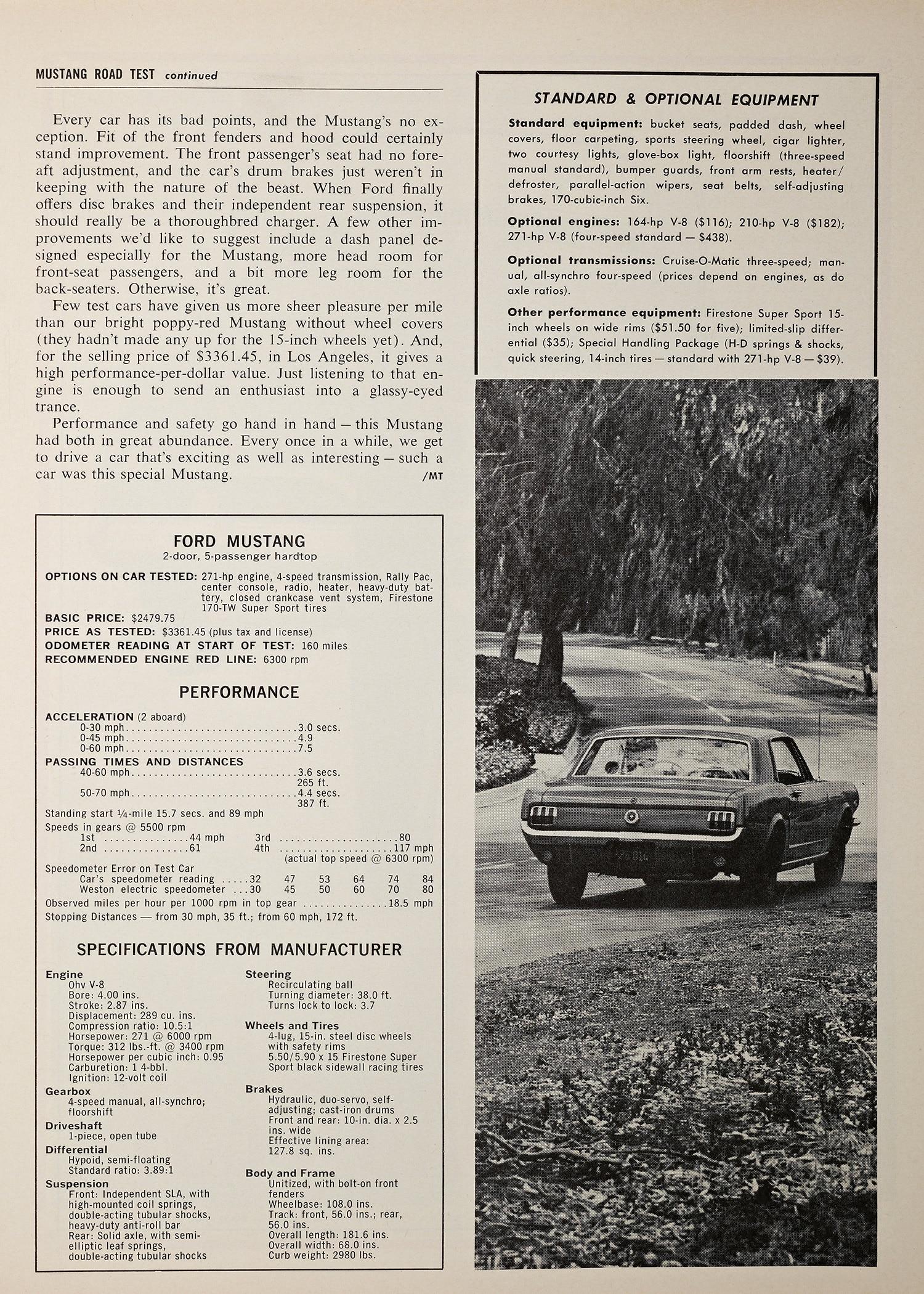 August 1964 Motor Trend Mustang Road Test Specs