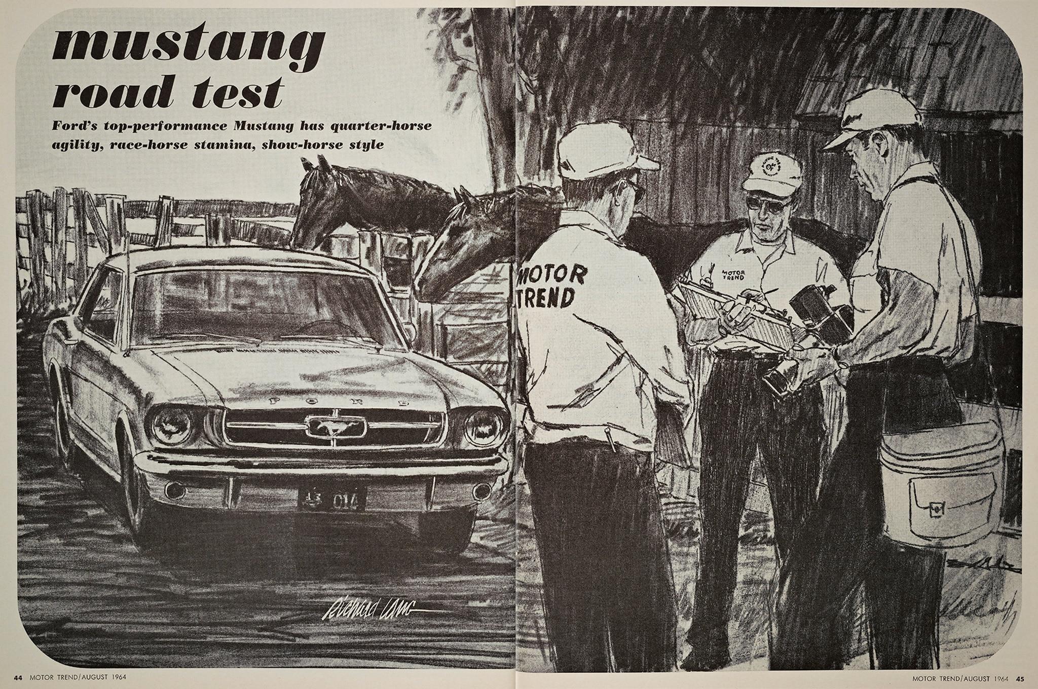 August 1964 Motor Trend Mustang Road Test Story Sketch
