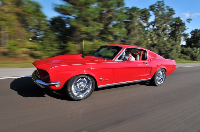 1968 Ford Mustang Red Driving