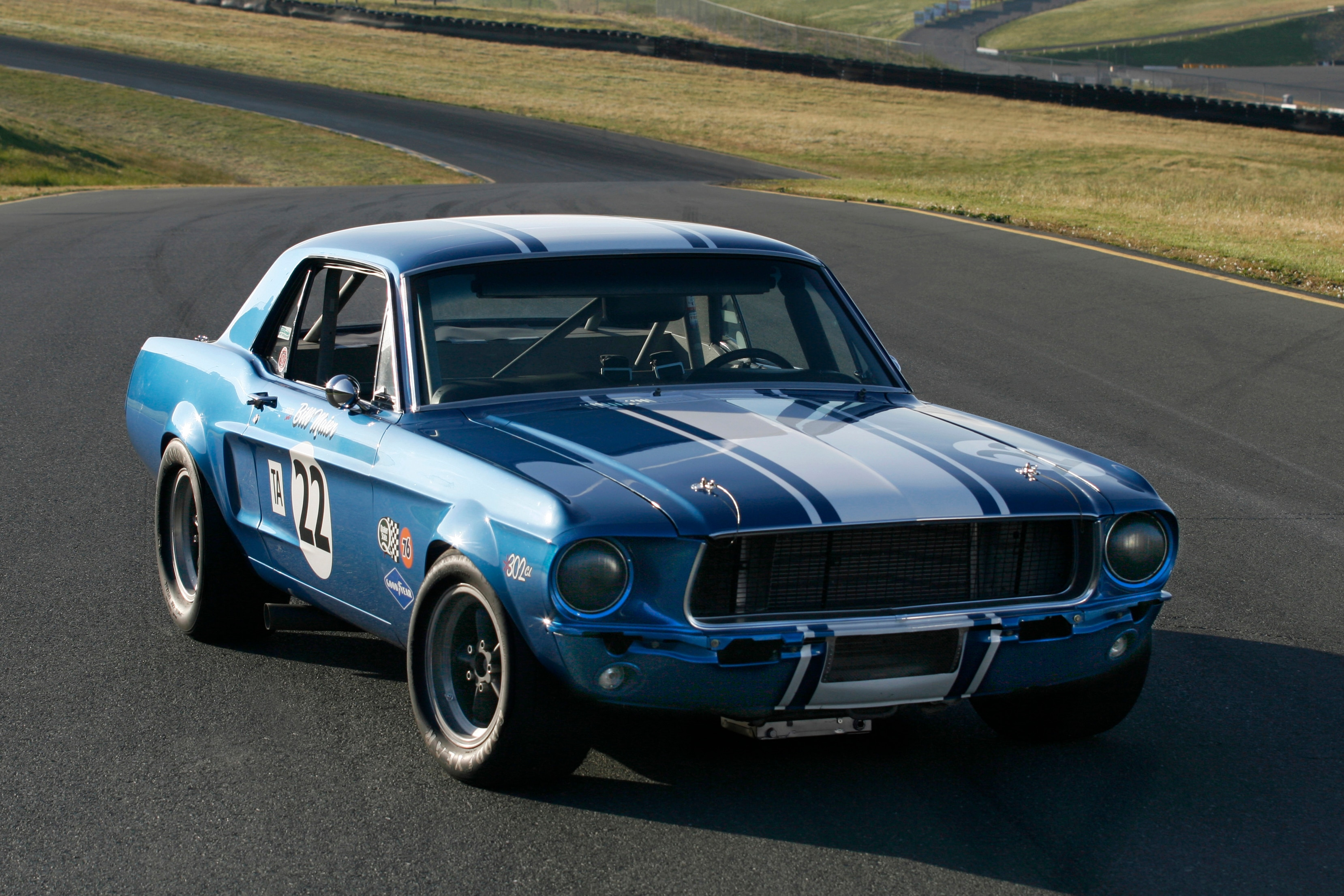 Blue White Ford Mustang