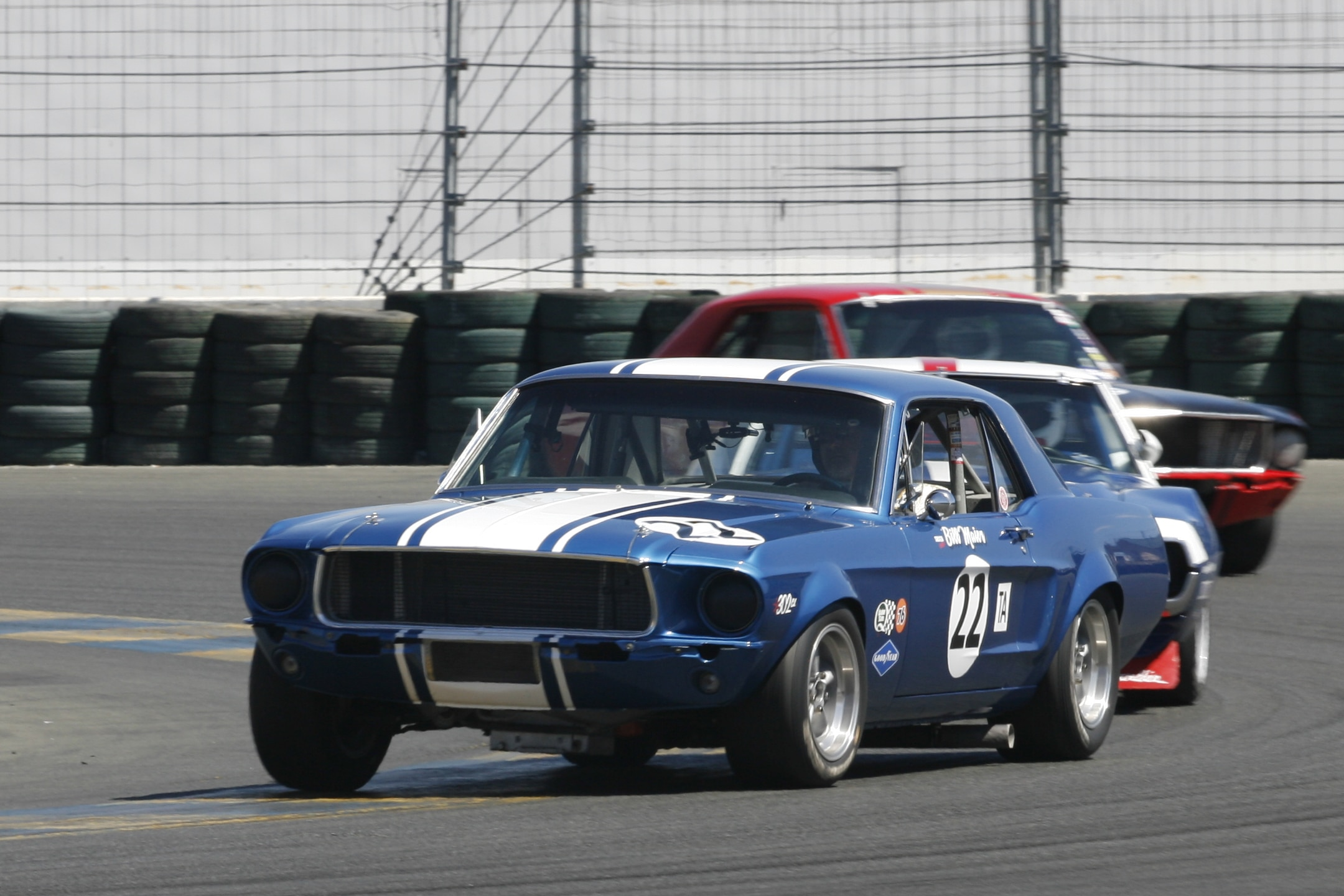Blue White Vintage Mustang
