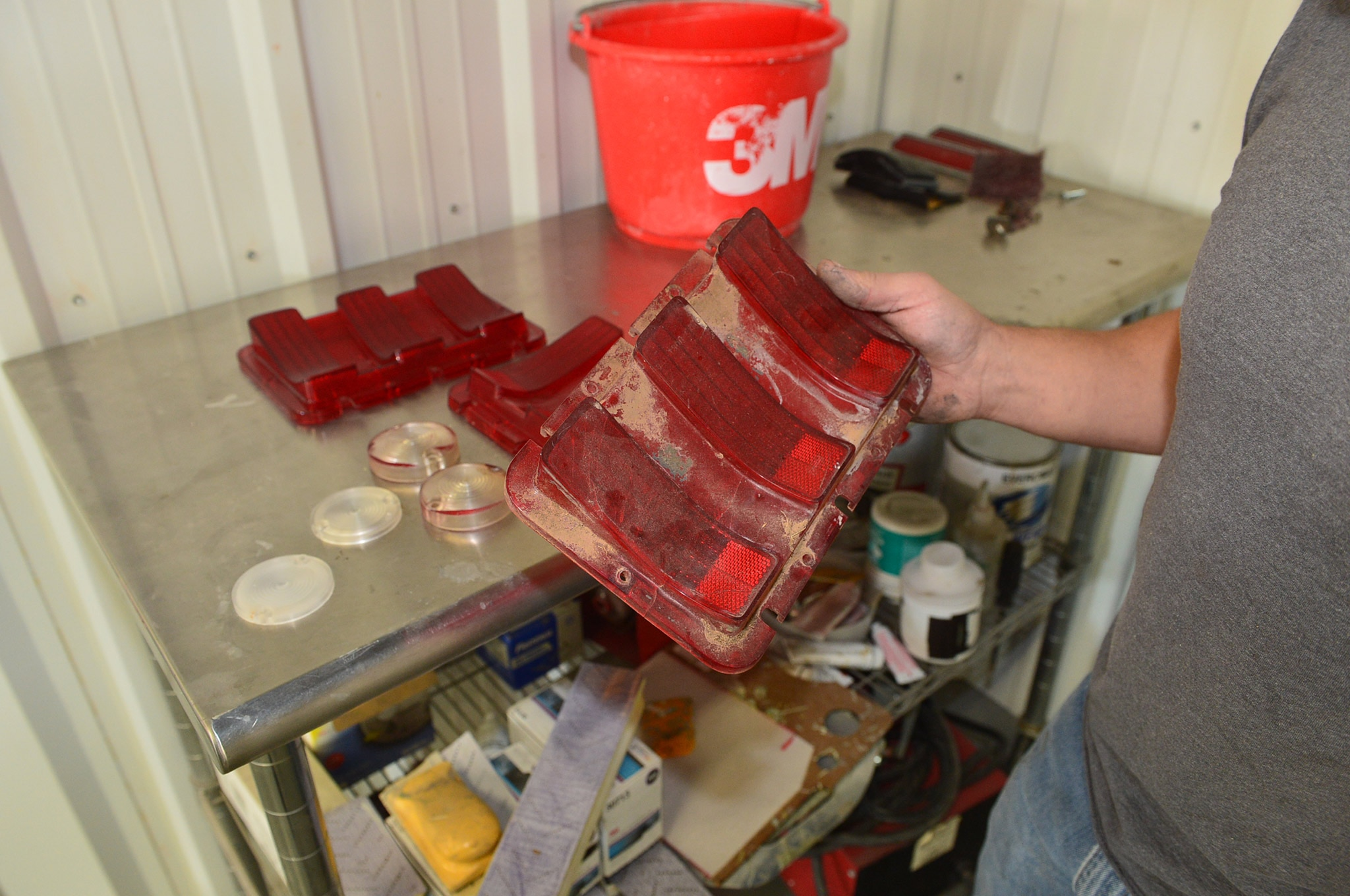 1968 Ford Mustang Convertible Project Taillight Lens Resto 01 Cloudy