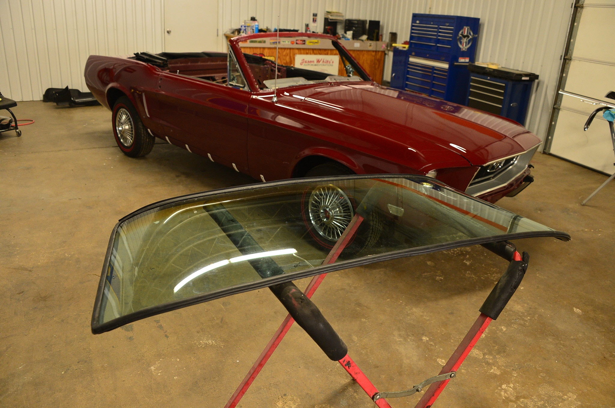 1968 Ford Mustang Convertible Project Windshield Install 01 Replacement