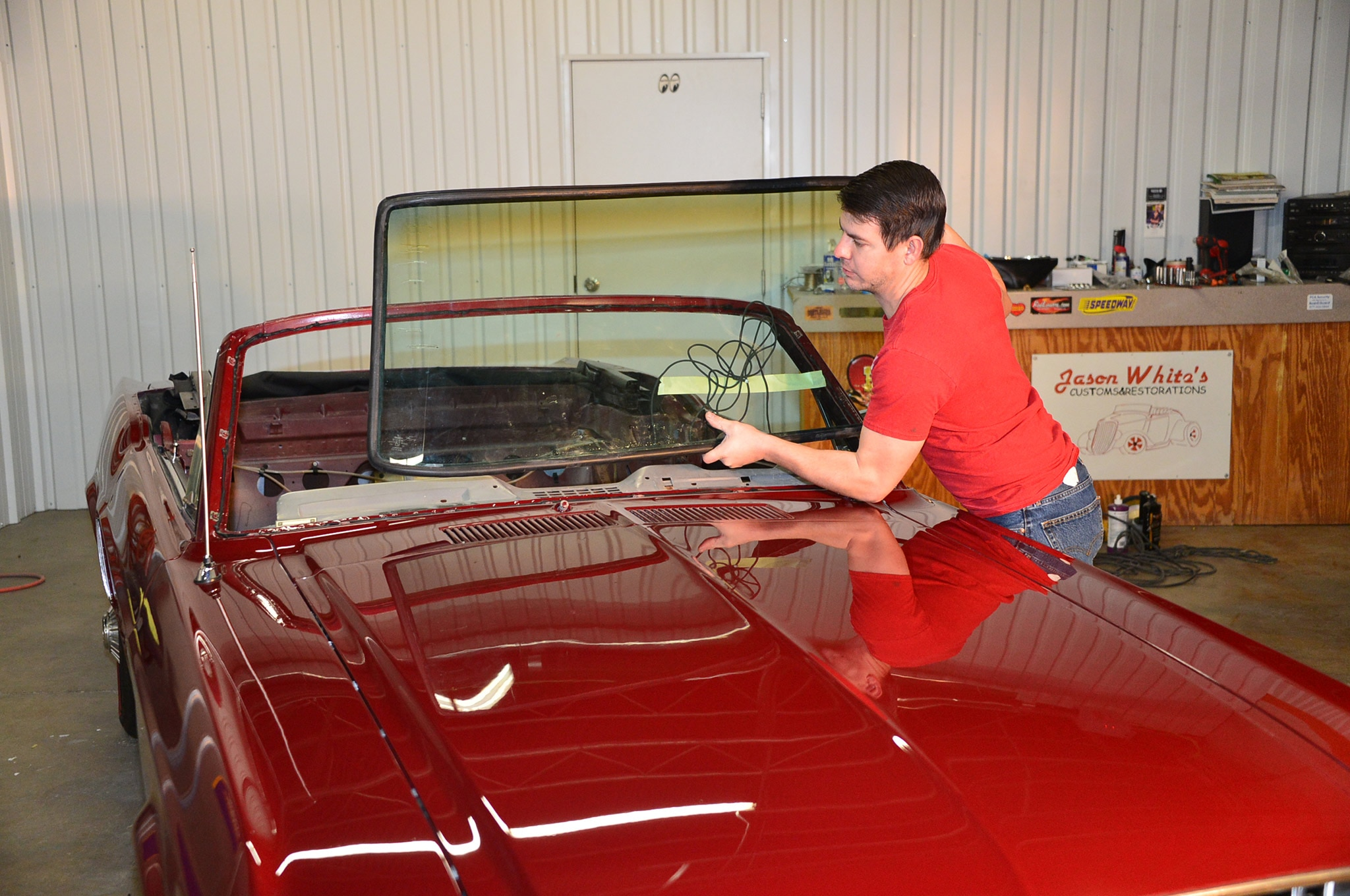 1968 Ford Mustang Convertible Project Windshield Install 09 Setting