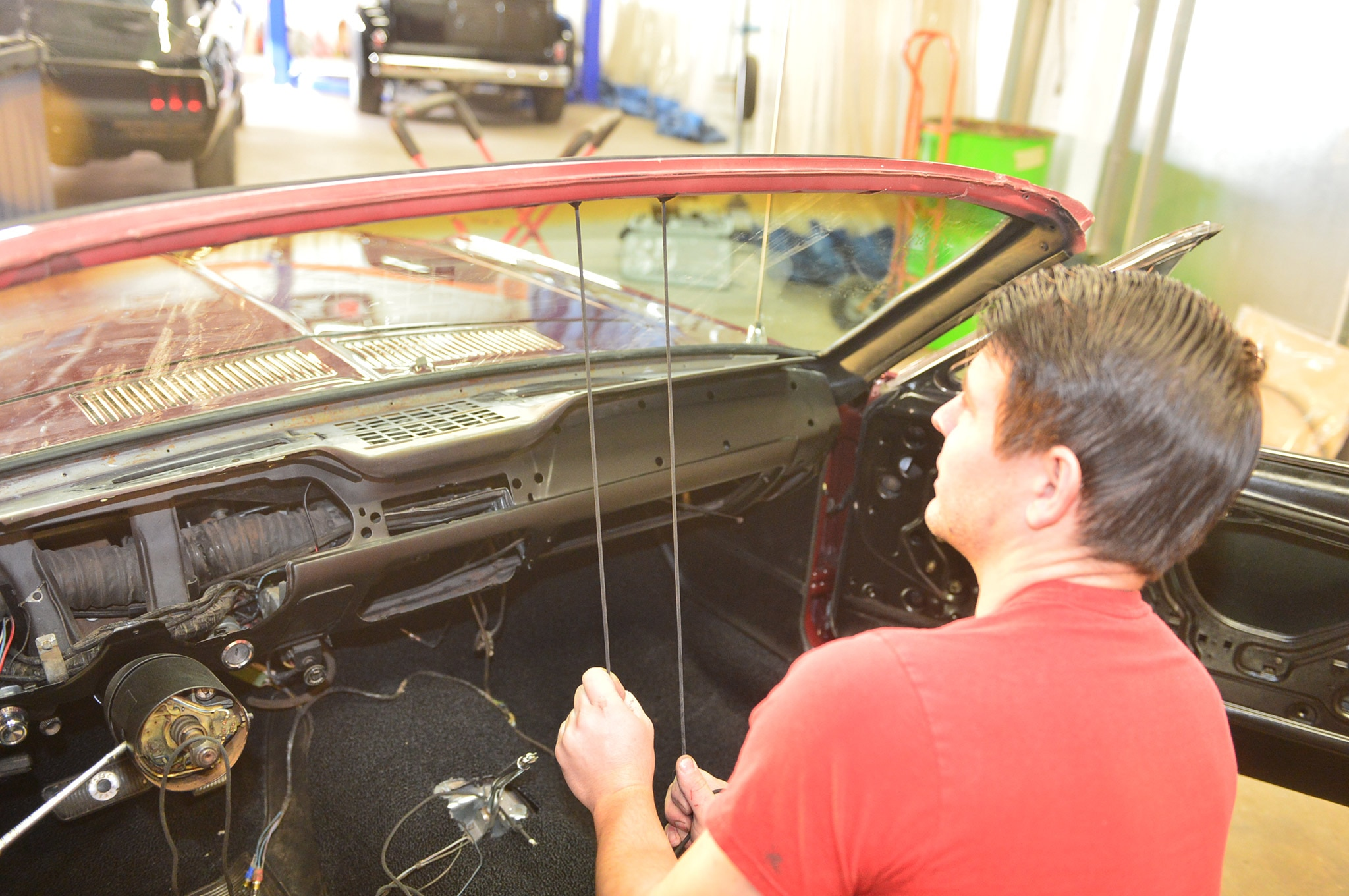 1968 Ford Mustang Convertible Project Windshield Install 12 Continue Pulling