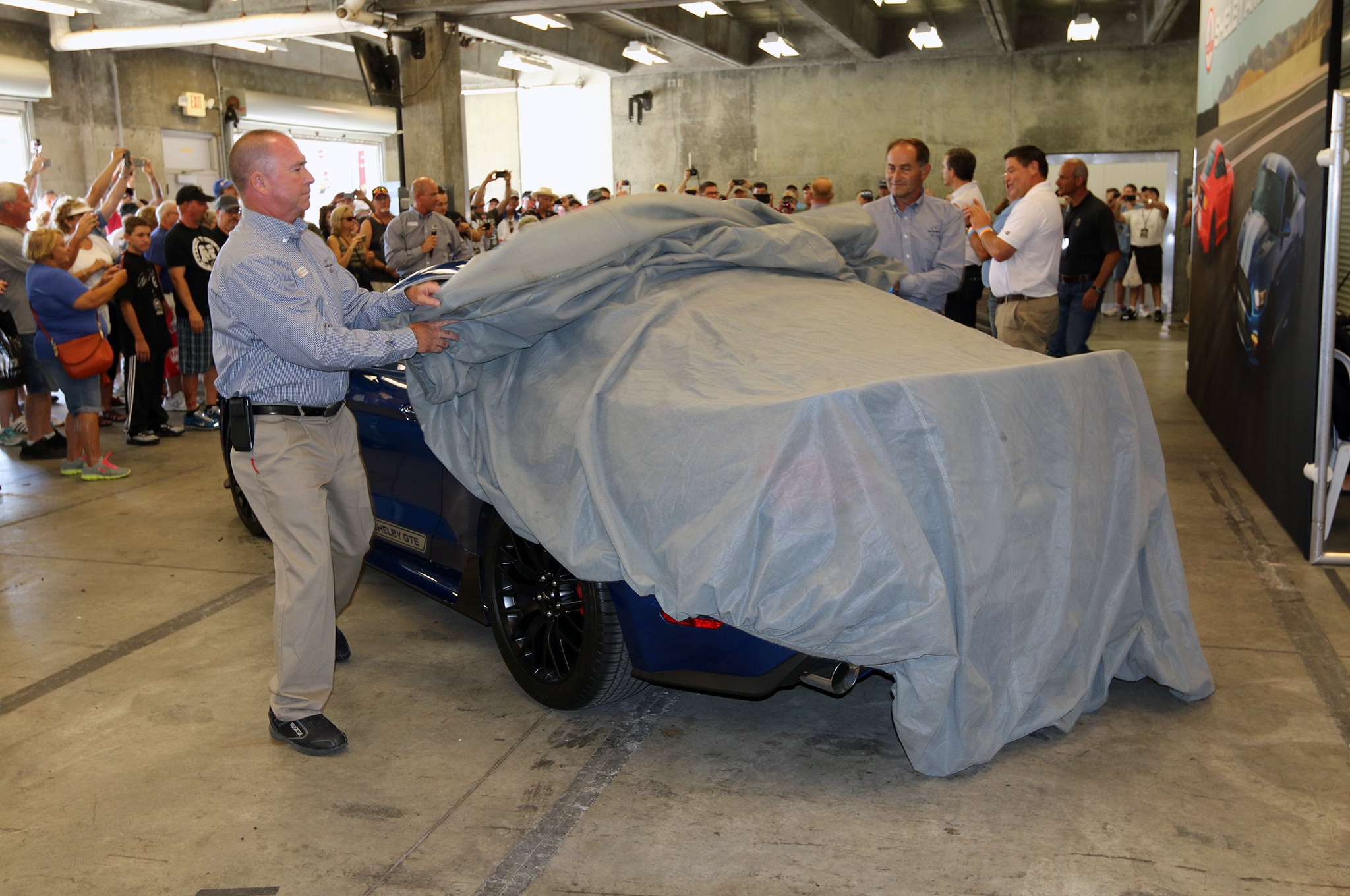 2017 Shelby GTE Reveal Car Cover Being Removed