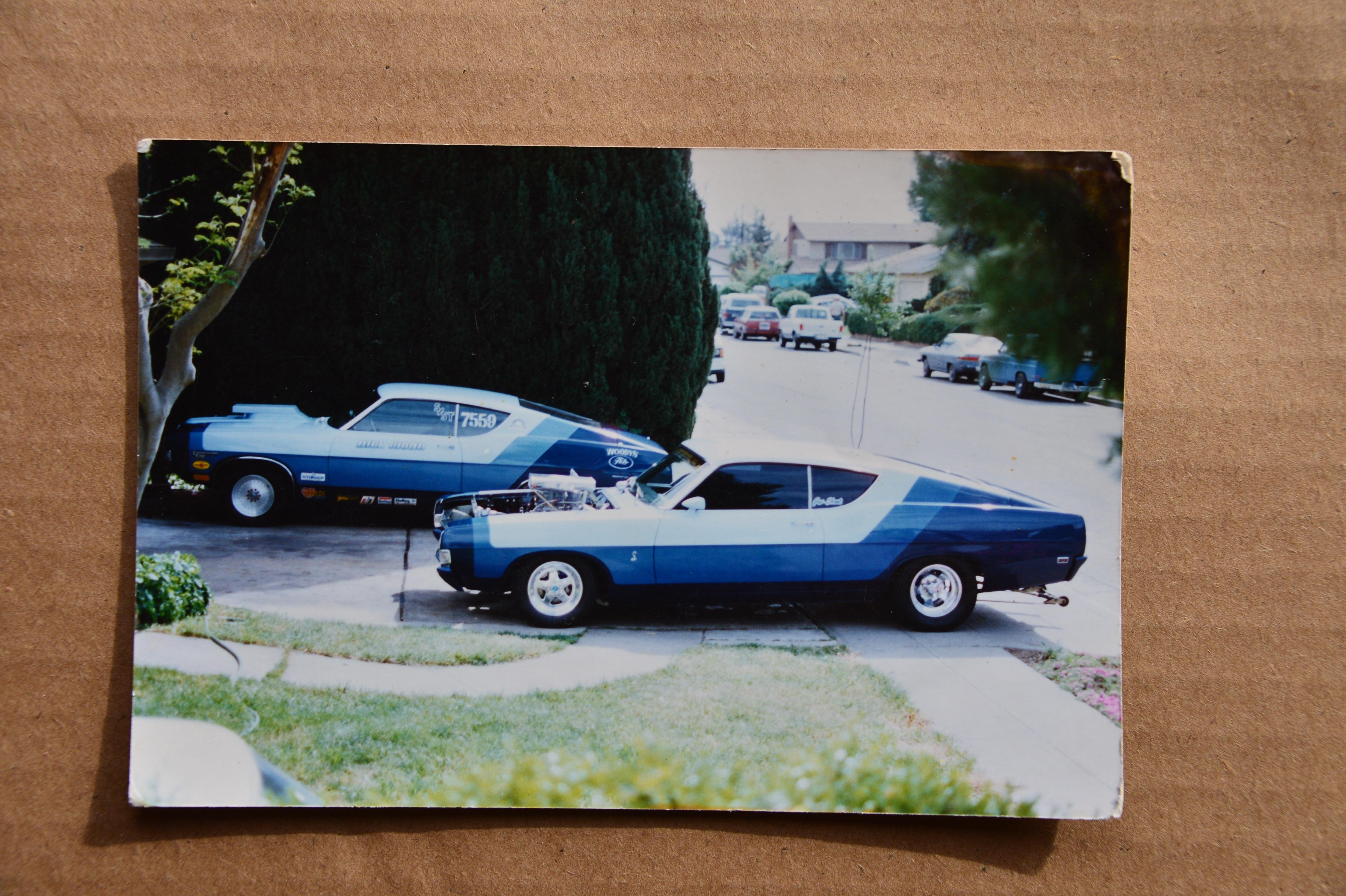 003 Rare Find 1969 Ford Fairlane Cobra Drag Team Two Cars Driveway