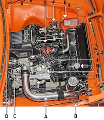 00AB Ford 1956 F 100 Chris Travis Engine Bay Callouts