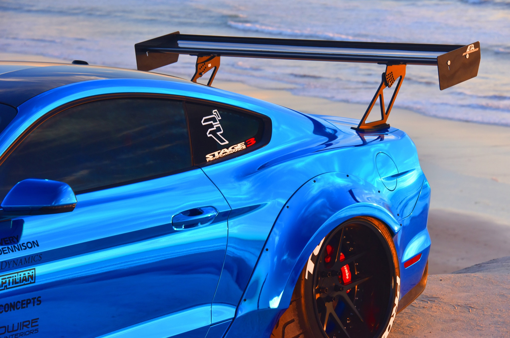 2015 Ford Mustang Blue Chrome Soto 27 Spoiler
