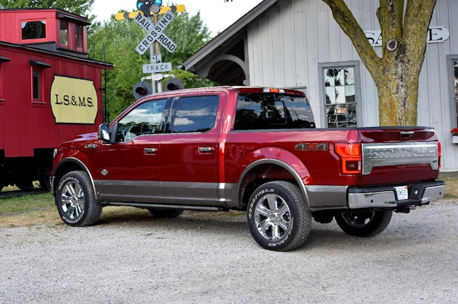 2018 Ford F 150 Magma Red Exterior Rear Quarter