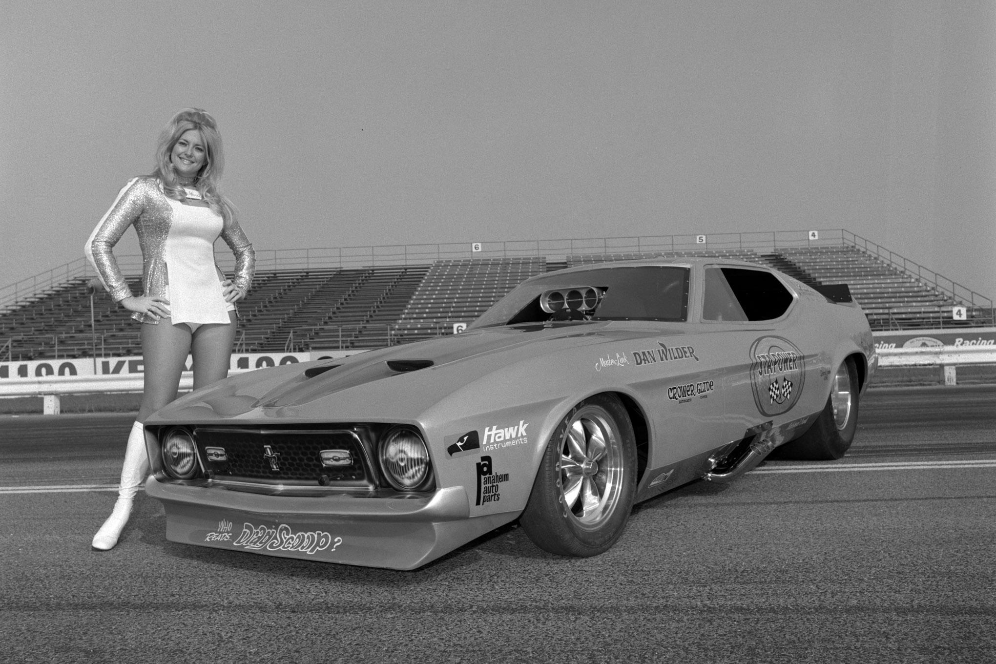 Linda Vaughn And 1972 Mustang Funny Car Lead