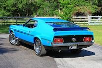 09 1971 Ford Mustang Boss 351 Blue Rear Three Quarter