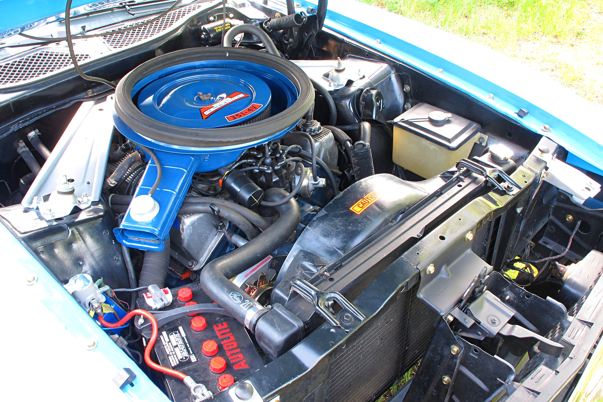 53 1971 Ford Mustang Boss 351 Blue Engine With Air Filter