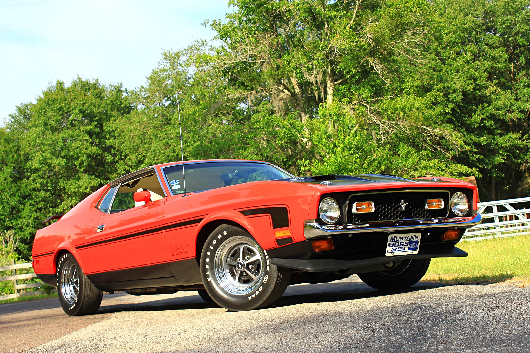 50 1971 Ford Mustang Boss 351 Red Front Three Quarter