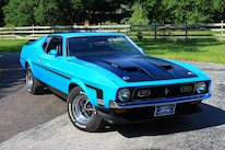 03 1971 Ford Mustang Boss 351 Blue Front Three Quarter