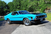 34 1971 Ford Mustang Boss 351 Blue Front Three Quarter