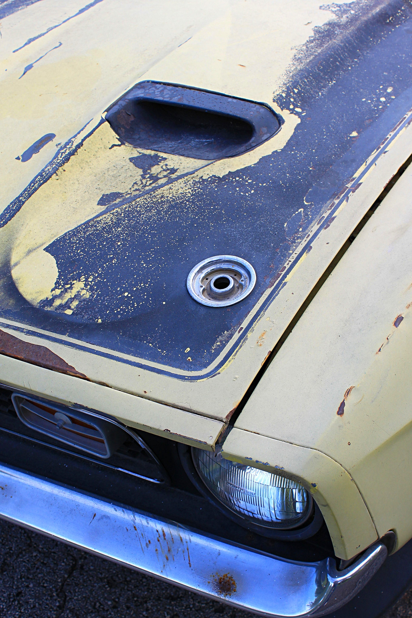 27 1971 Ford Mustang Boss 351 Yellow Hood Detail