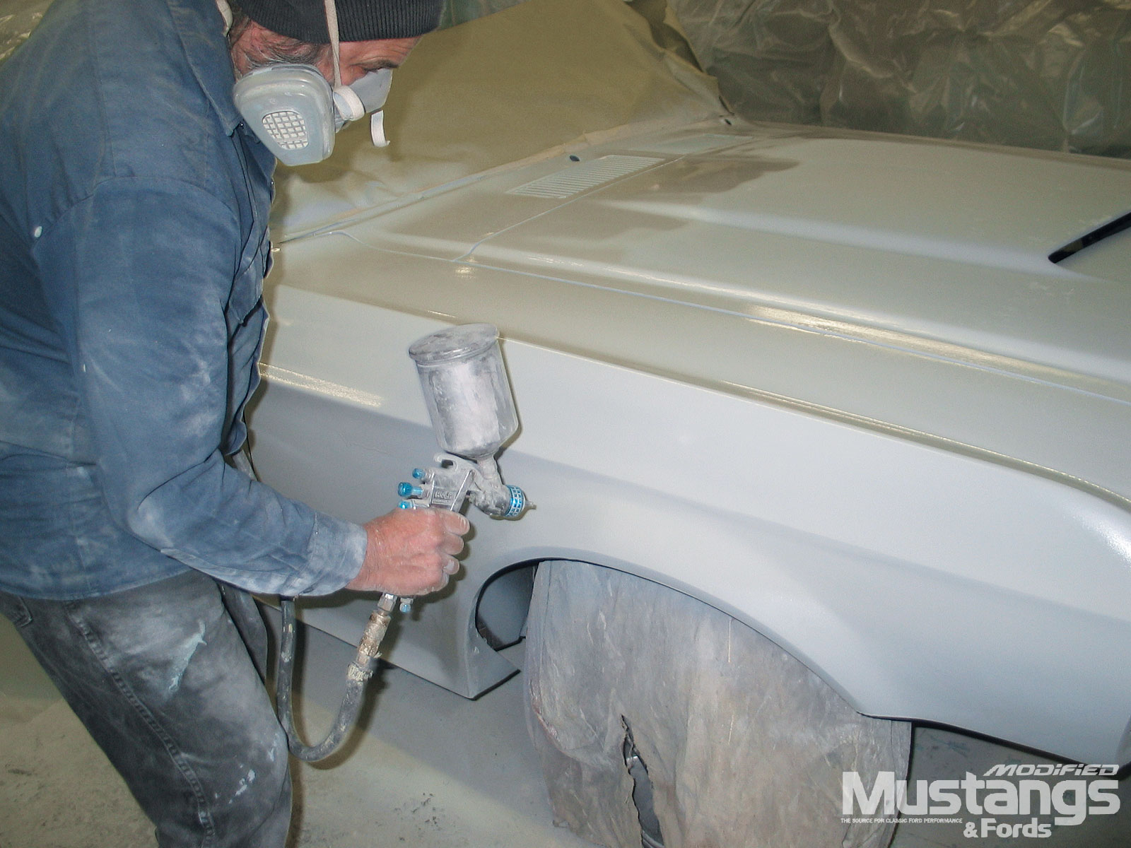Project Generation Gap 1968 Ford Mustang Fastback Front End Body Prep Primer Spray