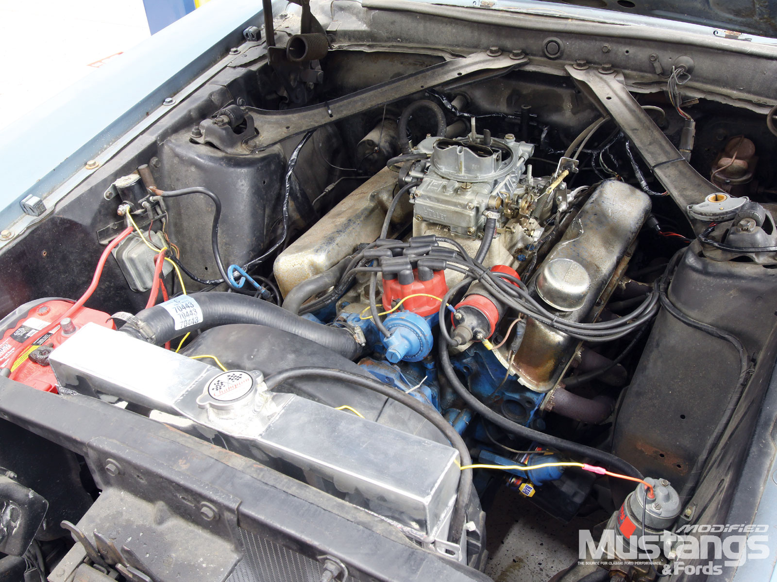 1970 Ford Mustang Project High School Hauler Engine Bay