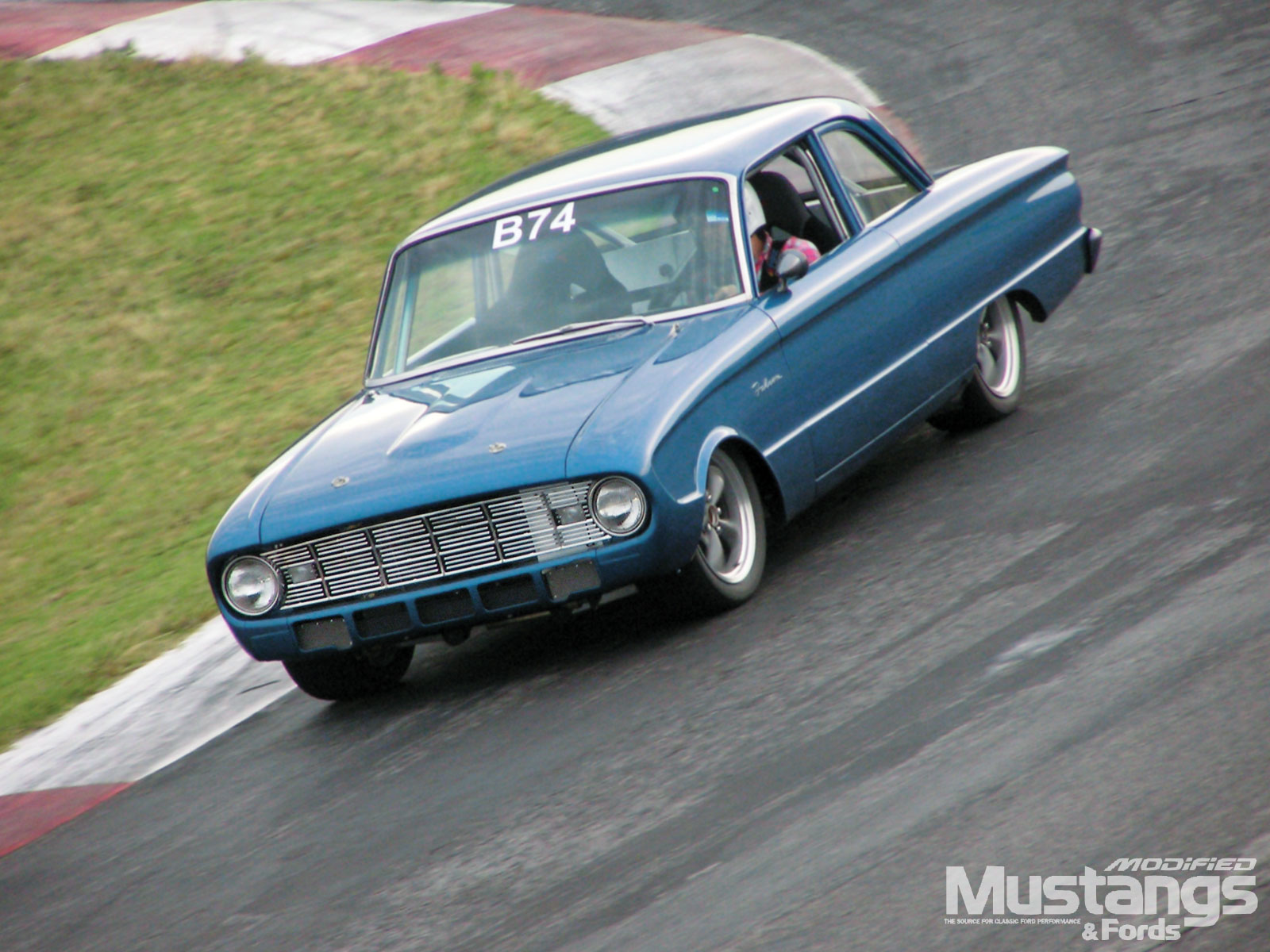 1960 Ford Falcon Two Door Sedan Around A Berm