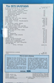 1970 Ford Mustang Spec Sheet