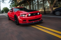 2014 Ford Mustang Steeda Red Q650 Front Quarter View Street