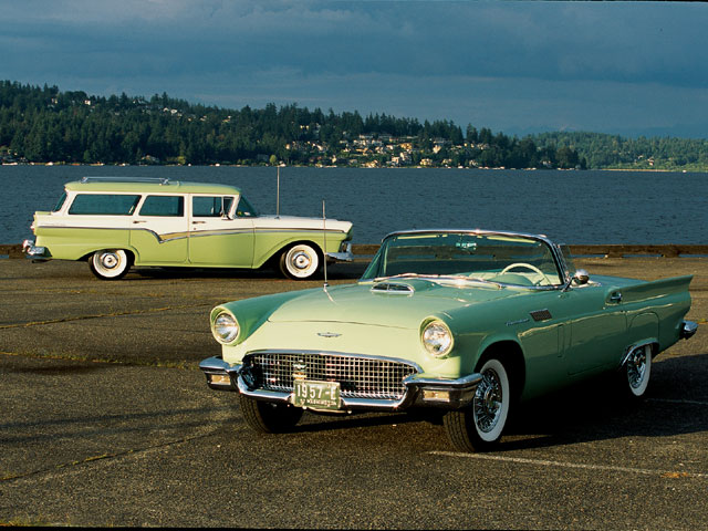 1957 Ford Thunderbird And Country Sedan Wagon By The Water