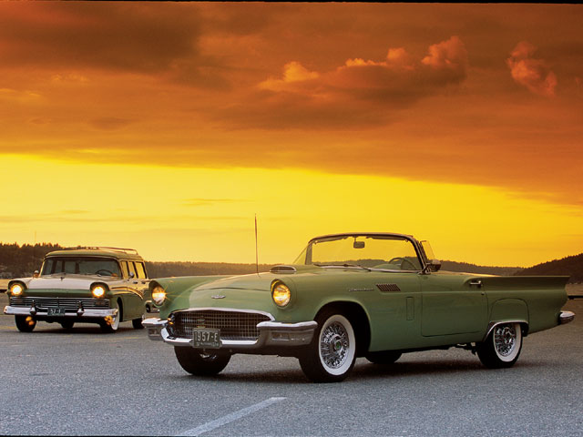1957 Ford Thunderbird And Country Sedan Wagon Sunset