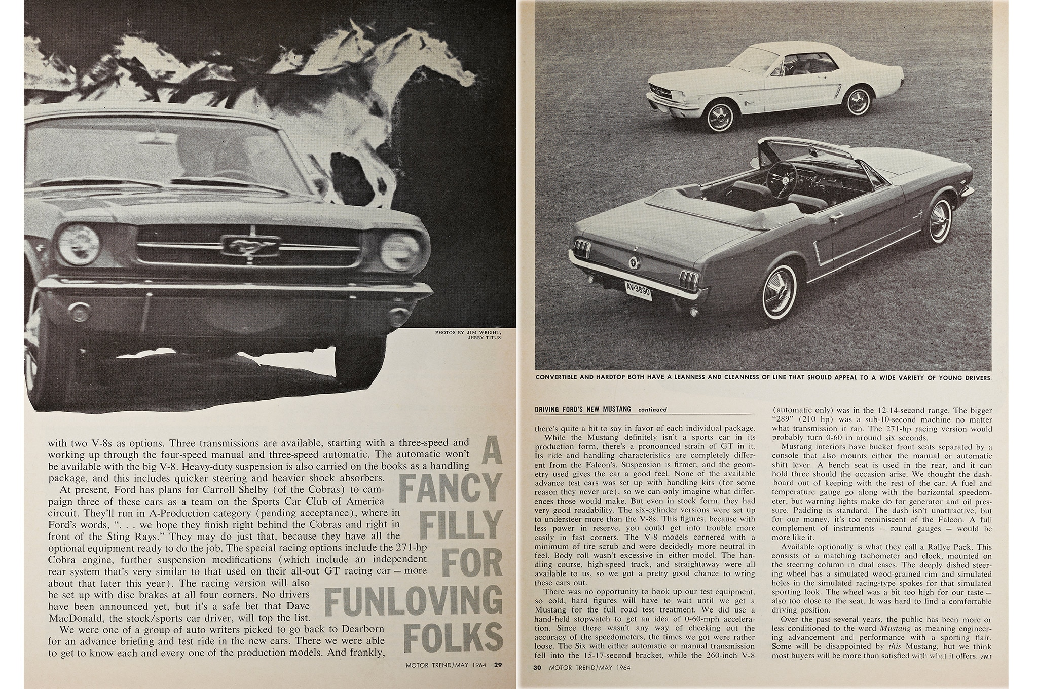 May 1964 Motor Trend Mustang Road Test Fancy Filly