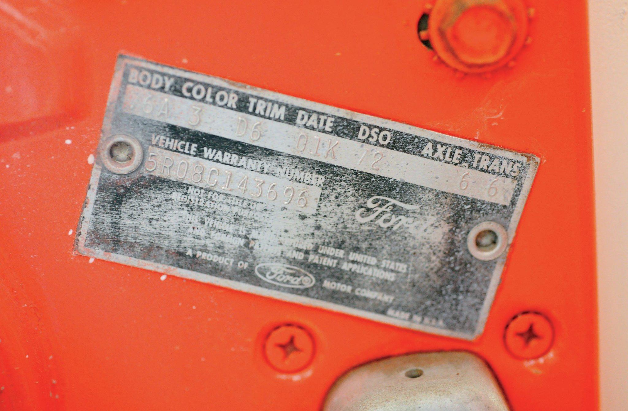 1965 Ford Mustang Door Tag