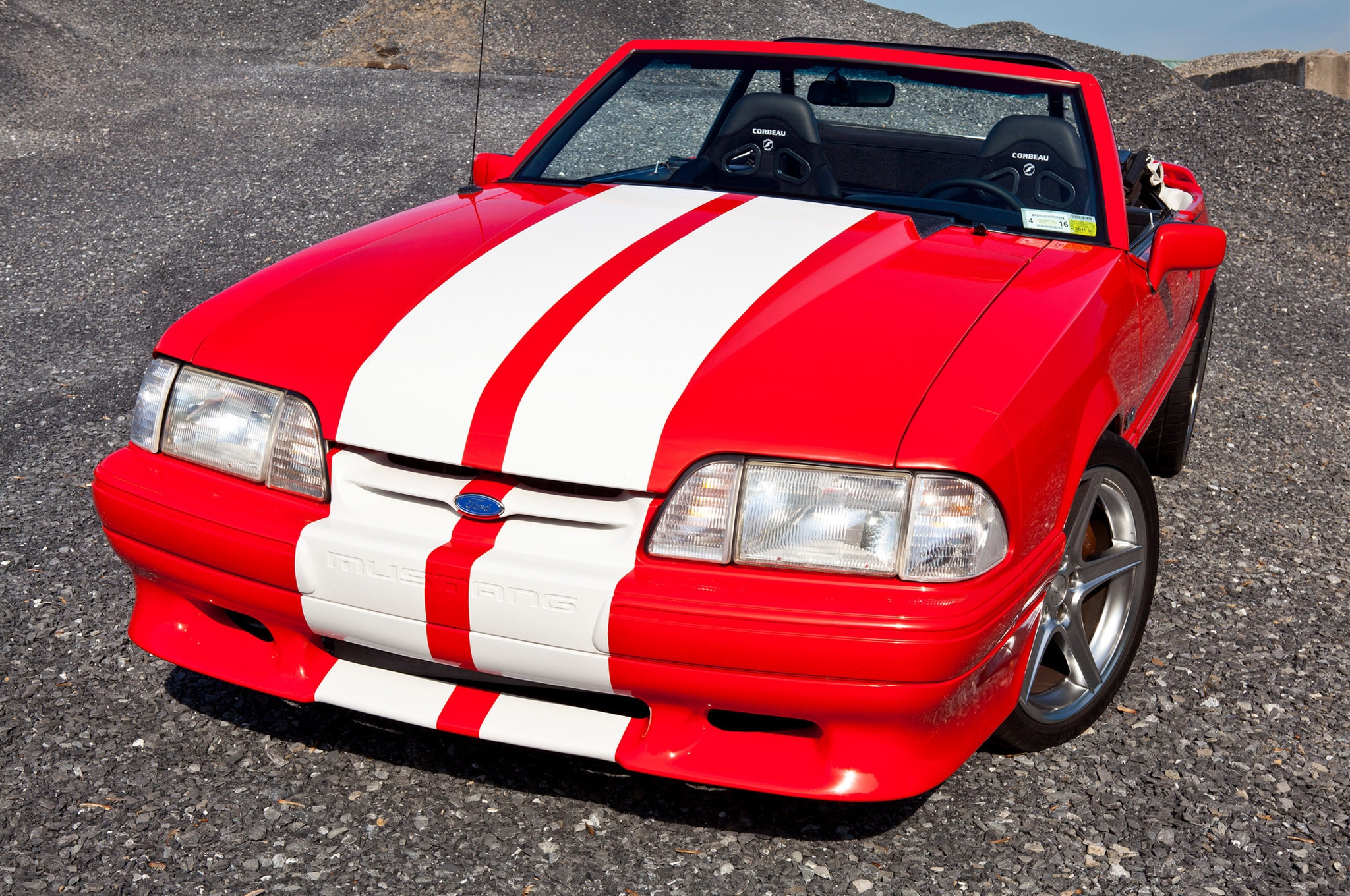 1992 Ford Mustang Convertible Red White Stripes Egeland 23 Headlights