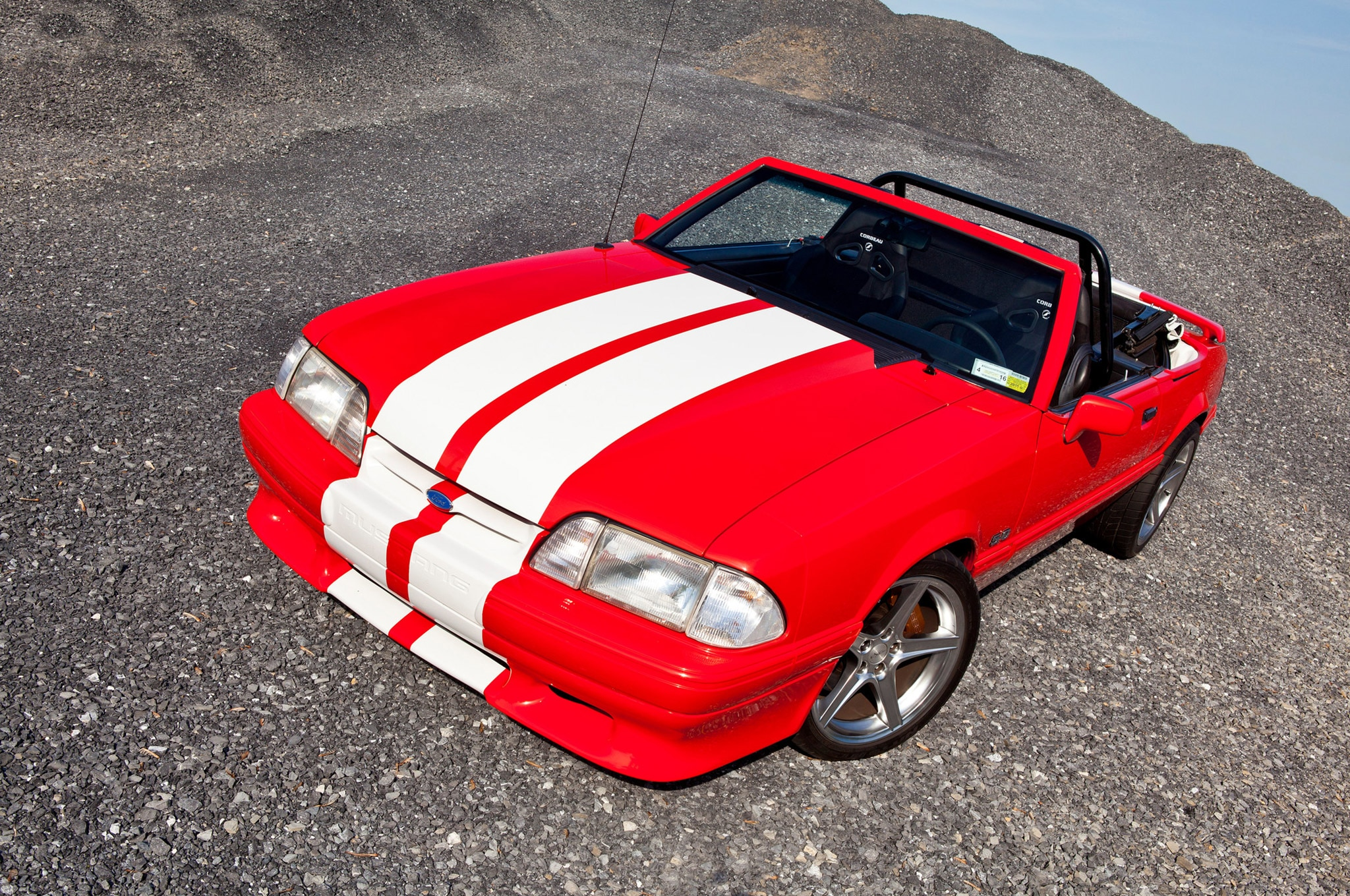 1992 Ford Mustang Convertible Red White Stripes Egeland 22 Hood