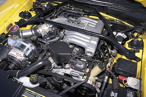 1995 Ford Mustang GT Yellow Engine Bay