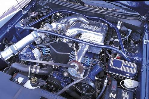 1995 Ford Mustang GT Convertible Blue Engine Bay