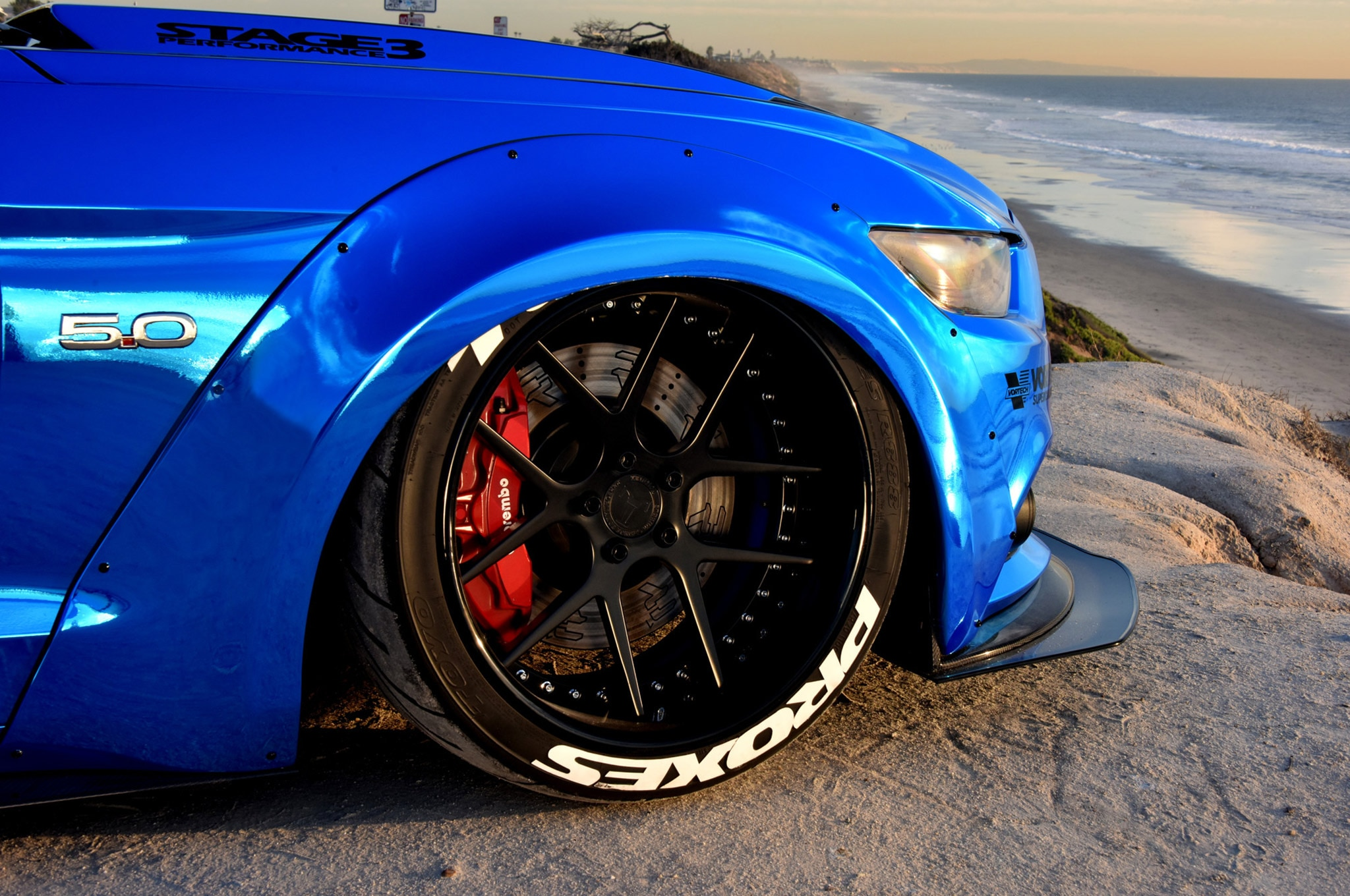 2015 Ford Mustang Blue Chrome Soto 07 Toyo Tire