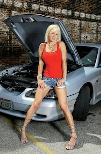 Samantha Roxy Babe Of The Month 1994 Ford Mustang Gt Hood