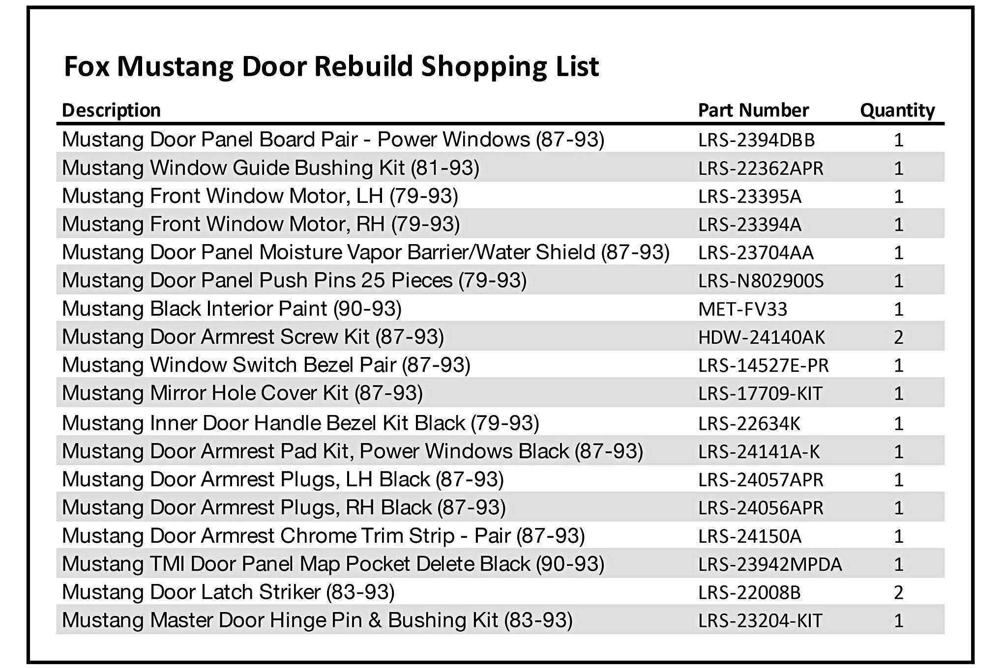 003 Mustang Door Panel Parts List
